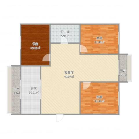 万科城市花园3室1厅1卫1厨136.00㎡户型图