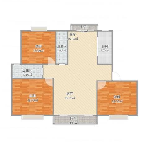 嘉城124平米!3室1厅2卫1厨155.00㎡户型图