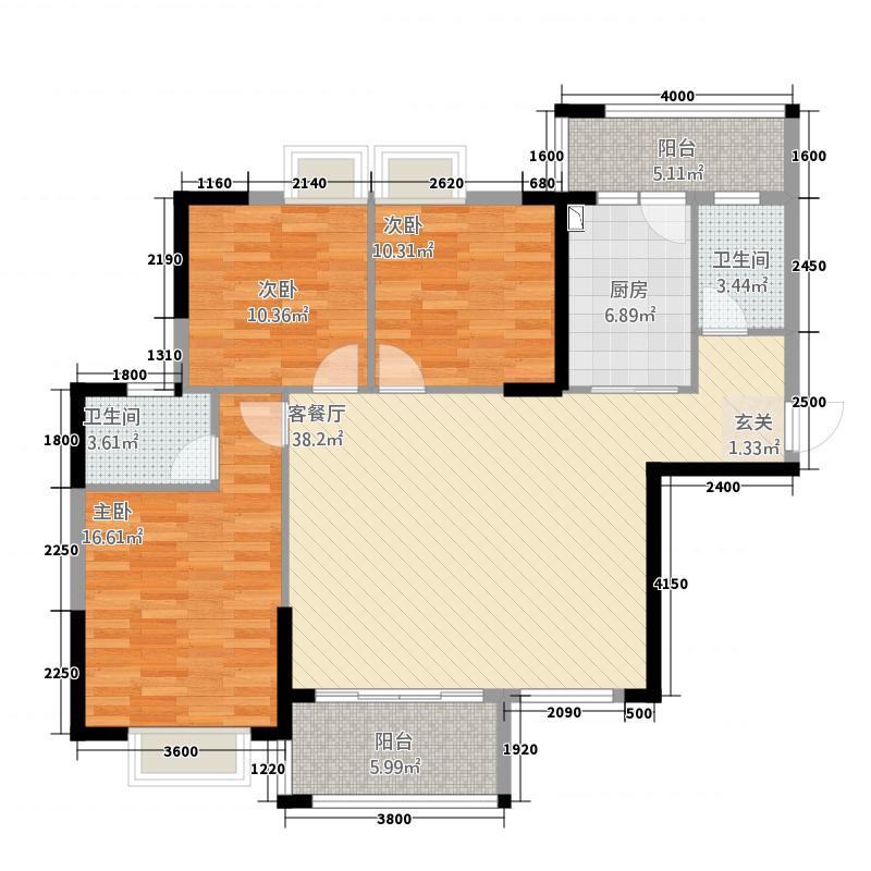 嘉燕橘州明珠128.60㎡A2栋03户型3室2厅2卫1厨