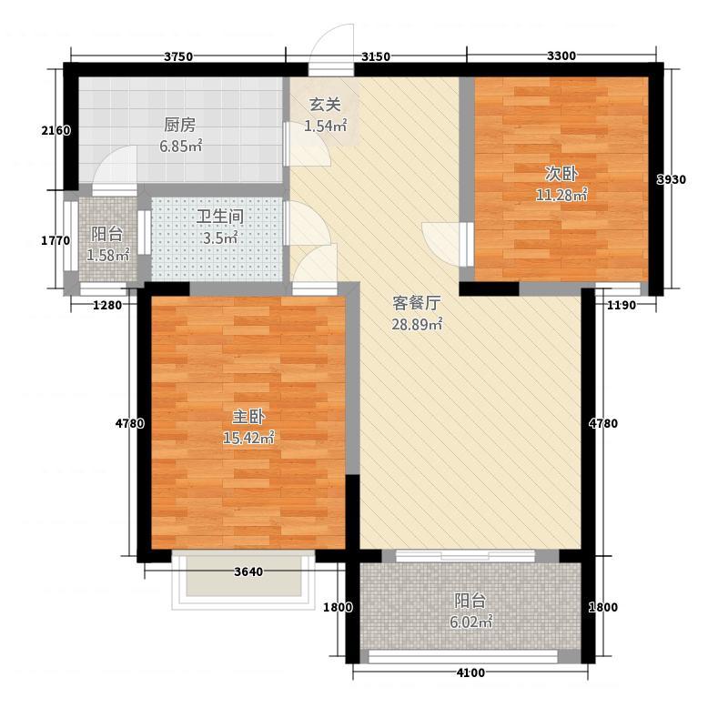 开门子●金岭阳光4.25㎡9425户型2室2厅2卫1厨