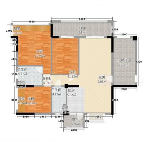 华南城十里东岸四期・绿卡3室1厅2卫0厨121.00㎡户型图