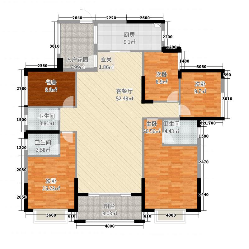嘉燕橘州明珠12.33㎡B1栋02户型5室2厅3卫1厨