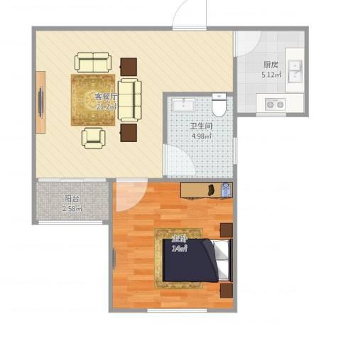 世博家园560弄1室1厅1卫1厨64.00㎡户型图