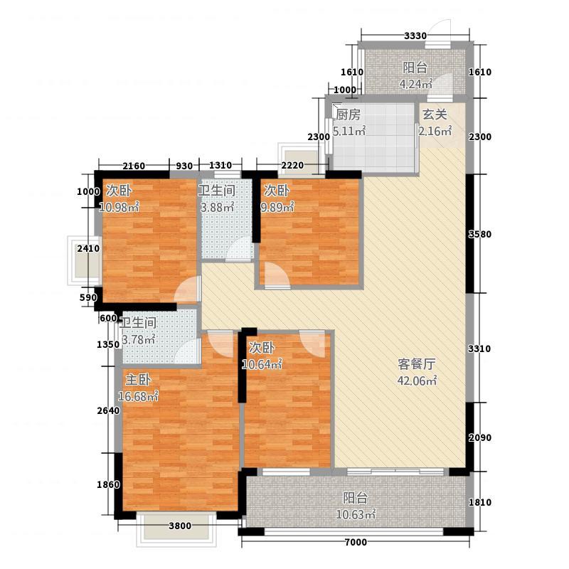嘉燕橘州明珠141.65㎡C栋03户型4室2厅2卫1厨