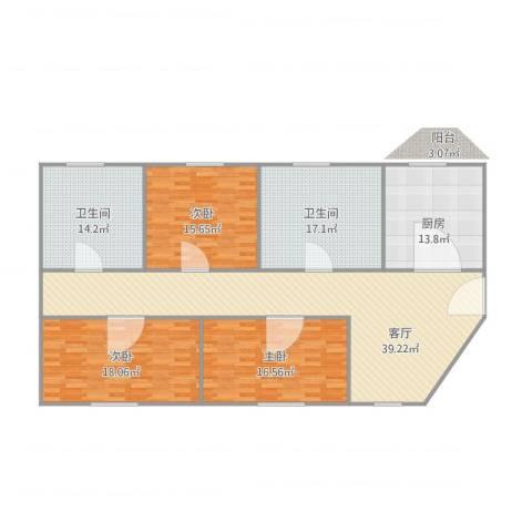 金浦花园3室1厅2卫1厨179.00㎡户型图