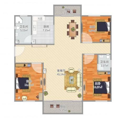 罗村花苑B区1号楼B座5013室1厅2卫1厨138.00㎡户型图