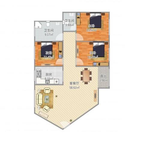 环湖花园3013室1厅2卫1厨160.00㎡户型图