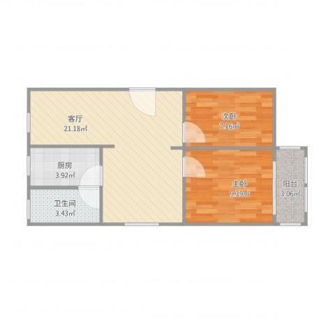 阳光苑(曹路)2室1厅1卫1厨66.00㎡户型图