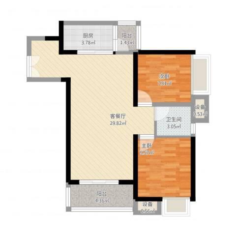 东莞长安万达广场2室1厅1卫1厨89.00㎡户型图
