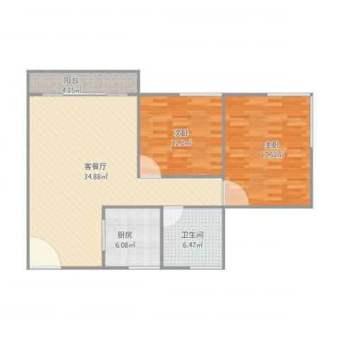 康怡花园2室1厅1卫1厨109.00㎡户型图