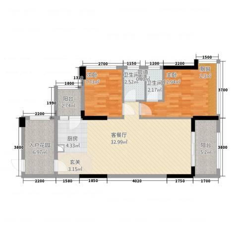 华南城十里东岸四期・绿卡2室1厅2卫0厨81.00㎡户型图