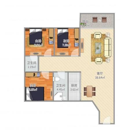 黄岐第一城3室1厅2卫1厨107.00㎡户型图