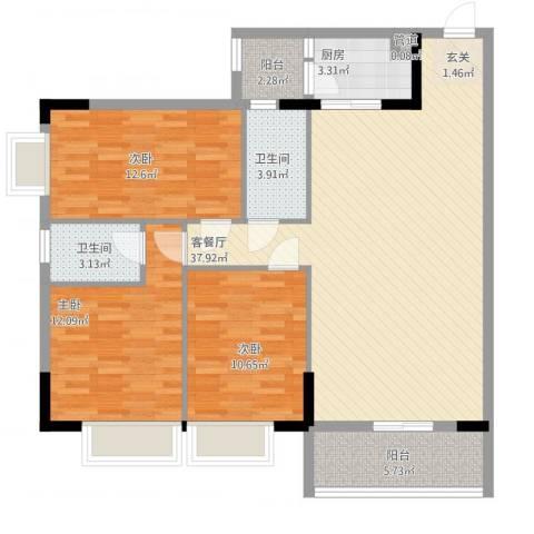 信和华庭3室1厅2卫1厨129.00㎡户型图
