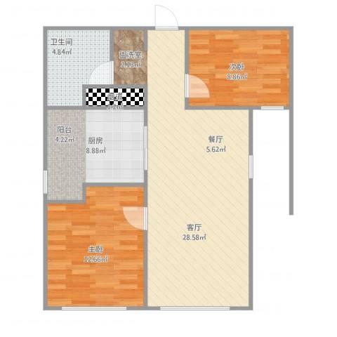 世茂五里河花园2室1厅1卫1厨88.00㎡户型图