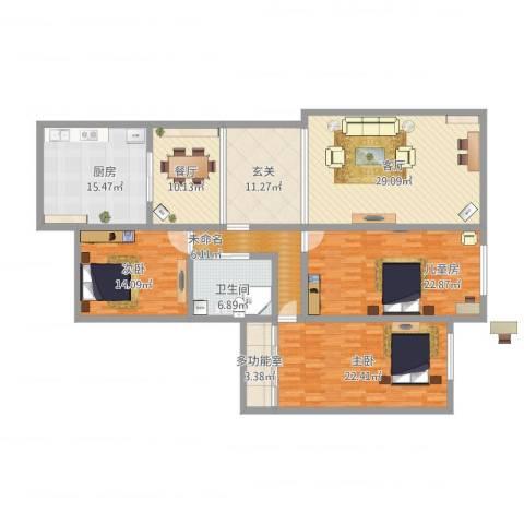 亲亲家园3室2厅1卫1厨201.00㎡户型图