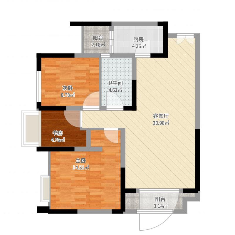 望龙东郡三室两厅一卫A5