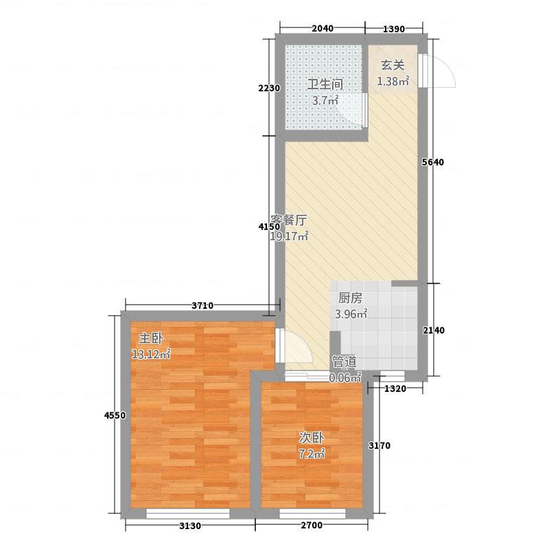 晟宝龙广场5.30㎡13#14#高层L户型2室1厅1卫1厨