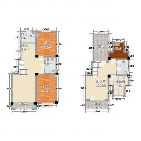晟宝龙广场3室1厅2卫1厨180.00㎡户型图
