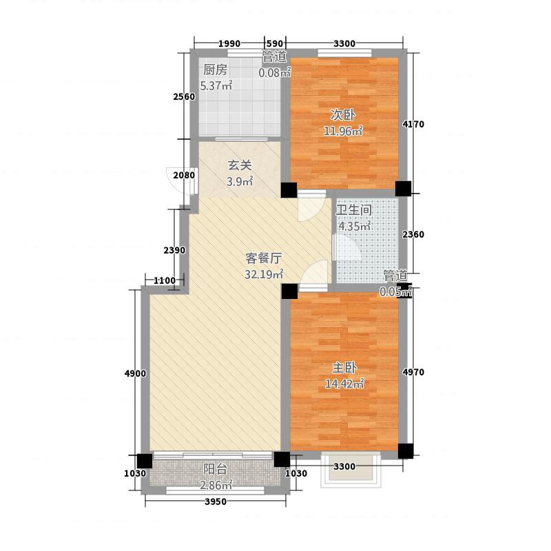 晟宝龙广场5.55㎡9#10#洋房E户型2室2厅1卫1厨