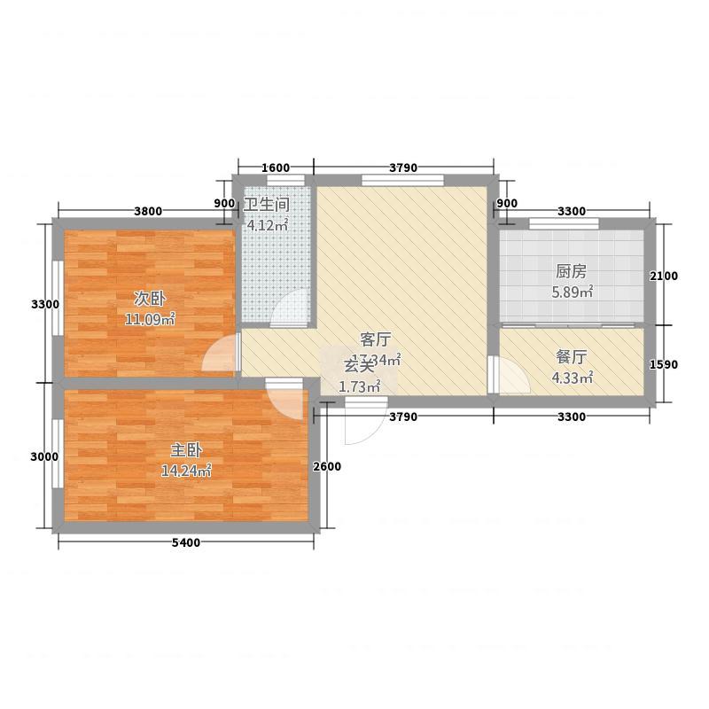 御品园83.20㎡G户型2室1厅1卫1厨
