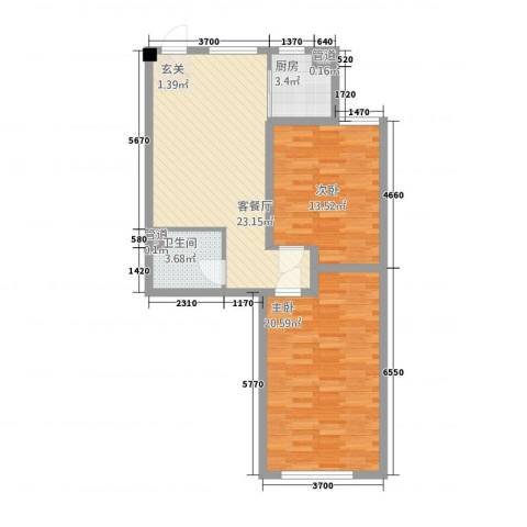 晟宝龙广场2室1厅1卫1厨87.00㎡户型图