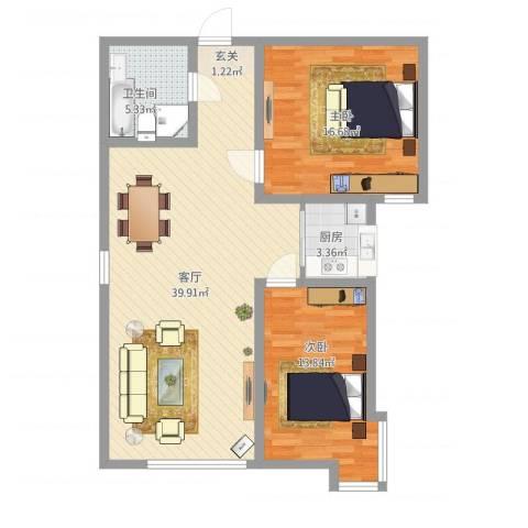 海旺家园二期2室1厅1卫1厨111.00㎡户型图