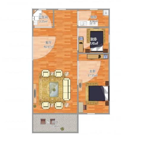 同济路1111弄2室1厅1卫1厨109.00㎡户型图
