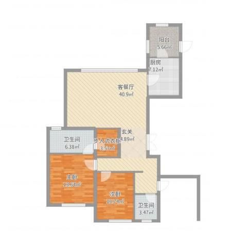 中庚当代艺术2室1厅2卫1厨129.00㎡户型图