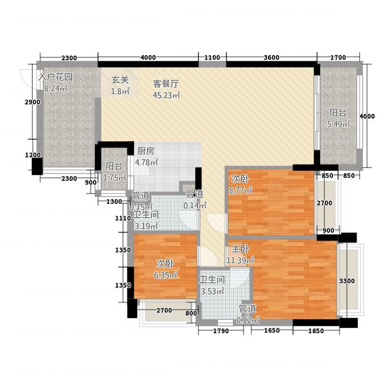 华南城十里东岸四期・绿卡14.12㎡k户型3室2厅2卫1厨