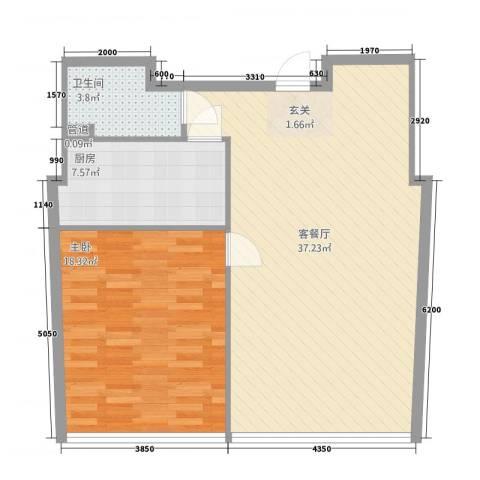 黄山国际假日广场1室1厅1卫1厨72.93㎡户型图