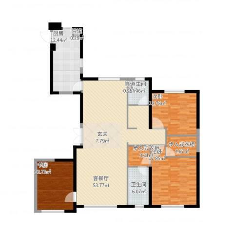 中庚当代艺术3室1厅2卫1厨180.00㎡户型图