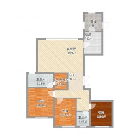 中庚当代艺术3室1厅2卫1厨142.00㎡户型图
