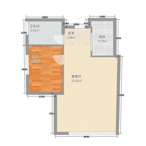 黄山国际假日广场1室1厅1卫1厨57.30㎡户型图