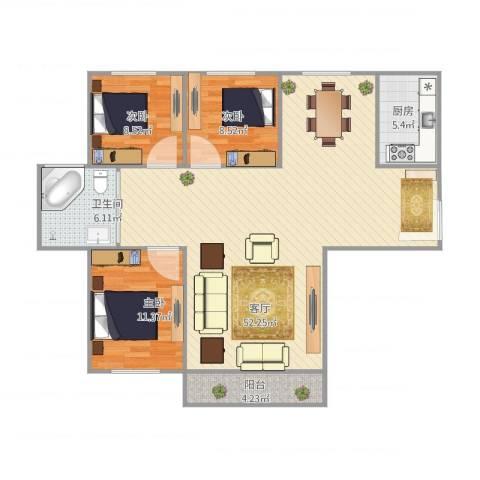 浦江东旭公寓3室1厅1卫1厨129.00㎡户型图