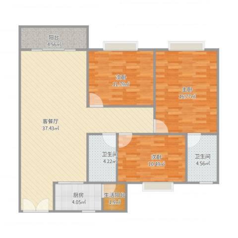 海逸城市花园3室1厅2卫1厨129.00㎡户型图