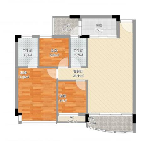 碧湖花园别墅3室1厅2卫1厨90.00㎡户型图