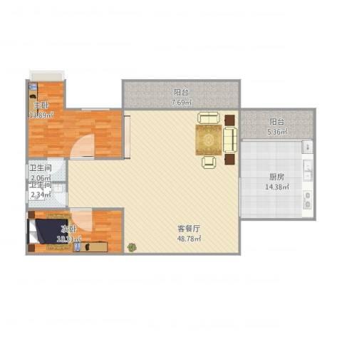 嘉信城市花园三期6座11A012室1厅2卫1厨140.00㎡户型图
