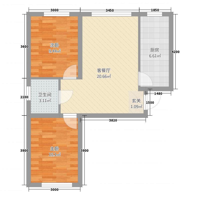 华城国际二期8.43㎡左一层户型2室1厅1卫