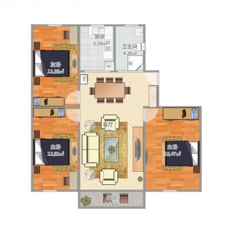 莱阳新家园3室1厅1卫1厨109.00㎡户型图