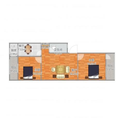 师范小区2室2厅1卫1厨109.00㎡户型图