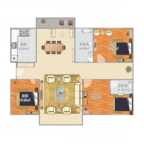 云山星座苑3室1厅2卫1厨407.00㎡户型图