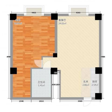 名人大厦1室1厅1卫0厨90.00㎡户型图