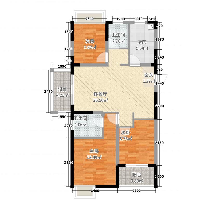 华邦・新华城112.00㎡A-户型2室2厅2卫1厨