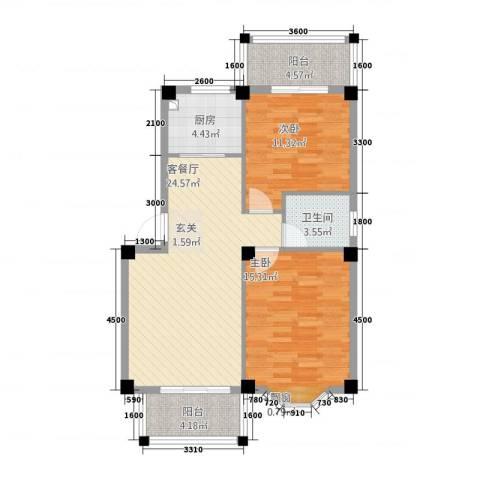 上春园2室1厅1卫1厨67.93㎡户型图