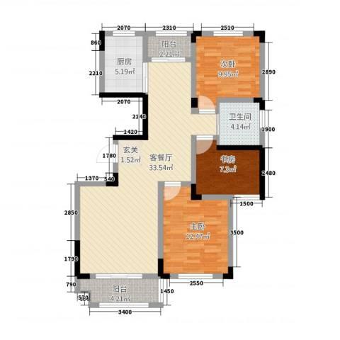 深蓝华庭3室1厅1卫1厨115.00㎡户型图