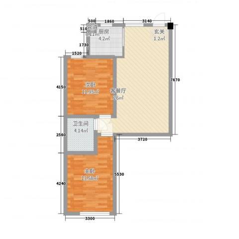 晟宝龙广场2室1厅1卫1厨82.00㎡户型图
