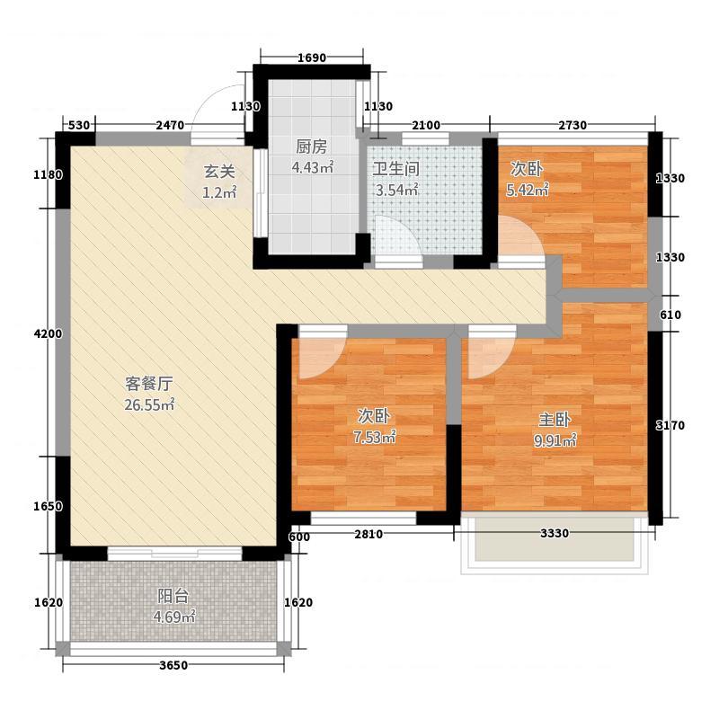 华邦・新华城B1-户型2室2厅1卫1厨