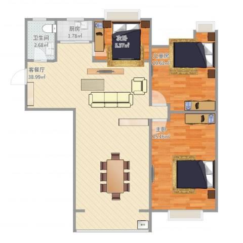 欣泰盛和苑3室1厅1卫1厨100.00㎡户型图