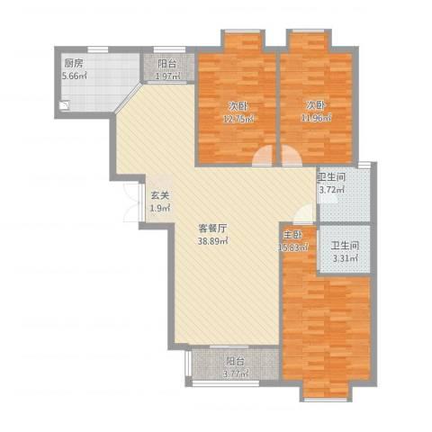 紫金领秀二期3室1厅2卫1厨135.00㎡户型图