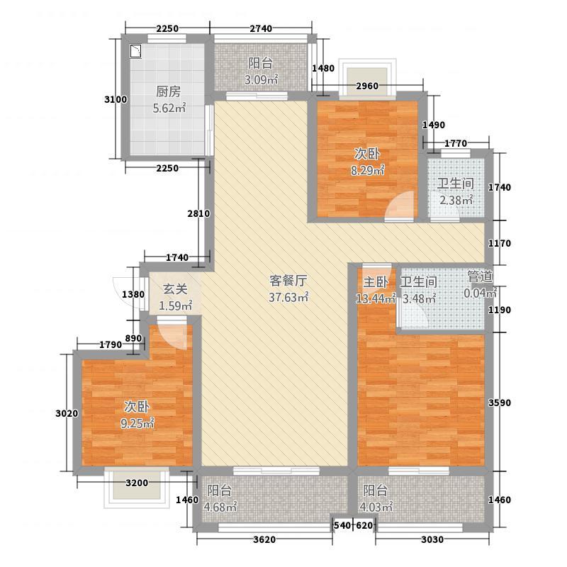锦悦华庭132.00㎡B2户型3室2厅2卫